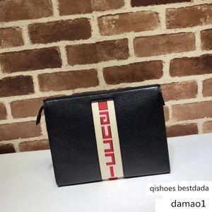 Letter Embossing Large Stripe Strap Cluth Briefcase Genuine Leather 475316 Handbag