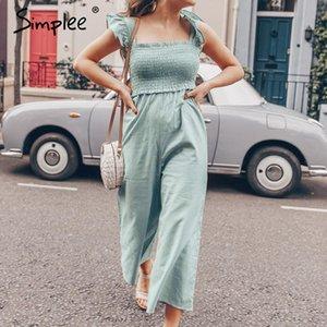 Simplee plissado elegante plissado mulheres jumpsuit tiras ocasional fêmea macacões perna larga romper senhoras Spring Summer macacão 2020 Y200425