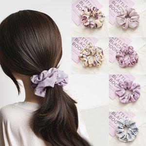 Gratuit DHL 6 Styles élastique Couvre-chef Violet Collection cheveux corde en mousseline de soie frais Cercle Femmes Porte-anneaux cheveux Ponytail