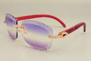 Luxury-2019 جديد حار بيع عدسة النظارات الشمسية 8300715 ذراع منحوتة خشبية جدا النظارات ، الفاخرة الماس للجنسين ظلة مرآة ، يمكن منحوتة اسم