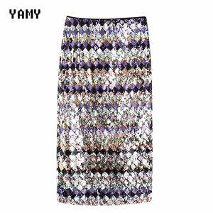 High waist Womens sequined Midi Skirt colorful blingbling Female bodycon party Skirt faldas elegant Ladies chic slim za Skirt Y200704