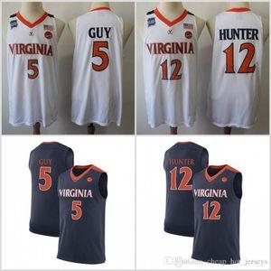 NCAA Virginia Basketball Jerseys Colégio 12 De'Andre Hunter 5 Kyle Guy Jersey Casa Fora Adulto Tamanho S-3XL