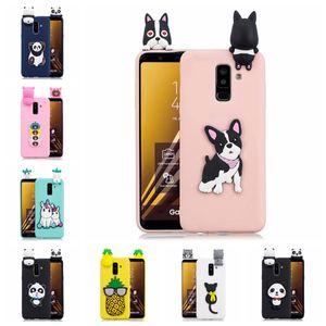 Pegado 3D Funny Panda Dog Cat Pineapple para Galaxy A6 Funda de TPU Pegando una pequeña muñeca de silicona 61 Modelos Opción