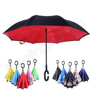 Double-layer Reverse Folding Umbrella Hands-free Standing Sunny Rainy Umbrella Inside Out Windproof Flower Flamingo 40 Style to Choose HA410