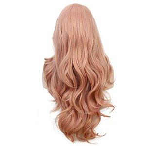 Yeni ürünler patlama moda Avrupa ve Amerikan peruk kadın gül net peruk uzun kıvırmak pembe moda renk fabrika nokta toptan