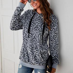 Inverno Vintage manica lunga peluche Top tasche Leopard Felpe Loose Women Stampa con cappuccio Felpe con cappuccio