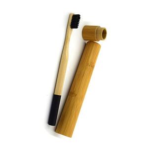100% biodegradável logotipo personalizado naturais escova de bambu conjunto titular eco amigável com mala de viagem antibacteriano madeira