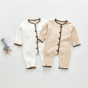 INS Kids Clothes Baby Rompers Front Wooden Buttons Knitted Jumpsuit Infant Fall Winter High-end Oneises Newborn Climb Clothes Bodysuits