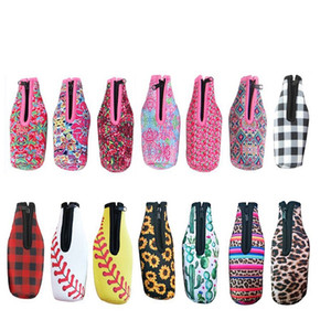 Neoprene bottle cover sleeve insulation cooler diving beer zipper bottle cover insulated beverage bottle bag anti-slip bottom