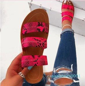2020 sandalias de los nuevos del verano de las mujeres sandalias de punta abierta diseñadores plana talón resbalón en Tamaño leopardo Sandalias Mujer 37-42 c11