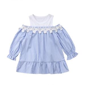 Princess Dress Boutique Vestido manga comprida listrada T-shirt Casual Infante recém-nascido Crianças Bebés Meninas Clothes Off Shoulder A-line