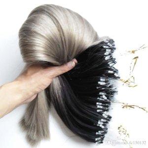 300s prata Ombre cabelo micro anel ciclo extensões 300g 1g s cinza Remy Micro Bead Hair Extensions T1b Grey Micro Fazer a ligação extensões de cabelo humano