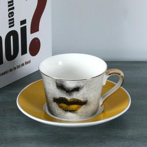 taza de café Fornasetti de oro taza de encaje de oro europeo plato Louisa decoración taza de té de bodas regalo de cumpleaños bookface casa