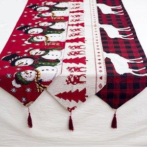 Веселые рождественские украшения для Home Хлопок Вышитого Рождества Таблицы Runners Натал украшение Noel Navidad Нового года 2020 Декора