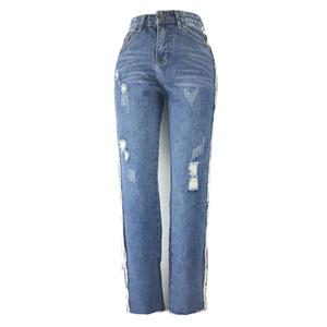 2019 Novas Mulheres Denim Jeans Rasgado Calças Branqueada Regular Skinny Jeans Cor Azul