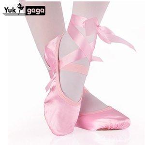 Chinelos professor de Gym Sapatos de dança de Yoga para Sapatilha de Dança Meninas Crianças cetim rosa Red Flesh Crianças com fita