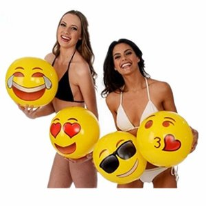 2020 new 30cm Emoji PVC Inflatable Beach Balls Inflatable Ball Pool Outdoor Sand Play Water fun Toys Happy Cry Angry whatsapp QQ expressions