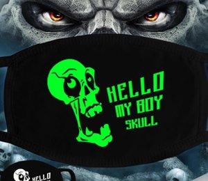 Luminous Gesichtsmaske Halloween-Skelett-Partei-Schablonen-Antistaub Zähne Glow Mundmaske Dunkel in der Nacht Schädel-Maskerade-Masken Cosplay GGA3514-3