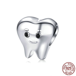 wholesale fashion personality tooth design beads 925 sterling silver european DIY charm for bracelet high quality jewelry