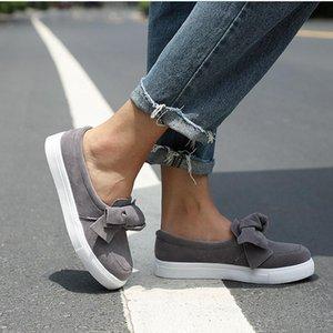 MCCKLE Frauen Loafers Plus Size Plattform-Beleg auf Bowtie flache Schuhe Nähen beiläufiger Bowknot Schuh für Frau Flock Mokassins