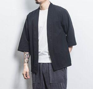 2019 Baumwollleinenhemd-Jacken Herren-Chinese Street Kimono Shirt-Mantel-Männer Leinen Cardigan Jacken-Mantel plus Größe 5XL