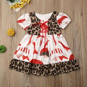 Il nuovo modo Cute Baby Girl Dress della neonata del bambino di Natale vestiti svasato Xmas Party Dress di Santa Altalena Abiti 1-6Years