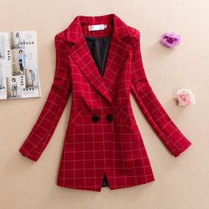Womens Plaid Blazer Kragen Langarm Büro Dame Anzug Frühling Herbst Jacken Oberbekleidung weiblich schlank plus Größe 3XL Kleidung J439