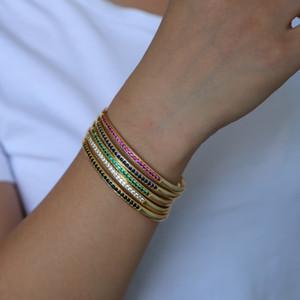 diamater atacado- 58-60 abertos ajustar pulseira CZ banda pavimentada círculo clássico colorido birthstone de ouro mulheres banhado pulseiras