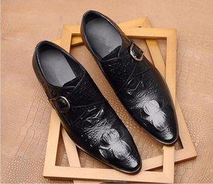 Итальянский стиль ручной работы платье обувь мужчин Свадьба Обувь из натуральной кожи Elegant пряжки металла Остроконечные Toe Мужской бизнес обувь 1a50