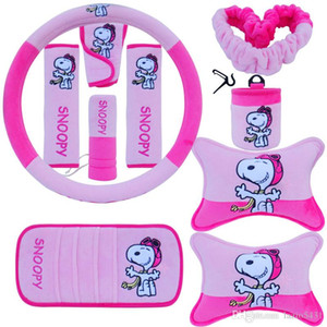10pcs unit Auto Accessories Snoopy Pink Car Upholstery Cartoon Steering wheel cover pillow car covers set Universal Automotive interior