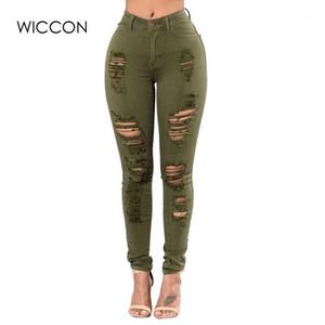 WICCON 2018 Новая мода плюс размер 3XL рваные джинсы Женщины Тощий Hole рваные джинсовые брюки Женщины Fasion Casual Высокая талия Jeans1