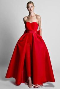2020 pantaloni di usura partito dei vestiti da sera del pannello esterno Sweetheart Red tute formale Prom Dresses Con staccabile per le donne vendita calda