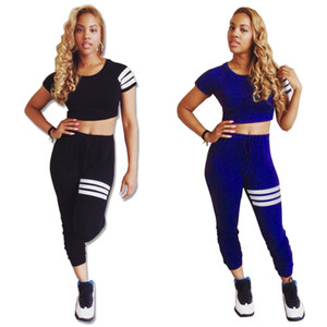 Summer set 2020 New Hot sale in Europe and America Fashion Women's Two Piece T-shirt Sets Solid color two-piece suit
