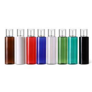 50pcs 100ml 120ml 150ml vazios garrafas de plástico Loção de alumínio prata Disc Top Sabonete Líquido Cap Travel Size Personal Care SPA Con