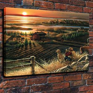 Terry Redlin Duck Farm Landscape, HD Stampa su tela Decorazioni per la casa Pittura artistica / (Senza cornice / Incorniciato)
