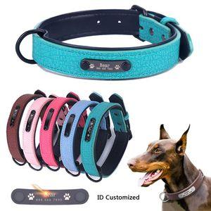 Große Durable Personalisierte Hundehalsband PU-Leder Padded Pet ID Krägen Customized für Small Medium Large Dogs Cat 5 Größe