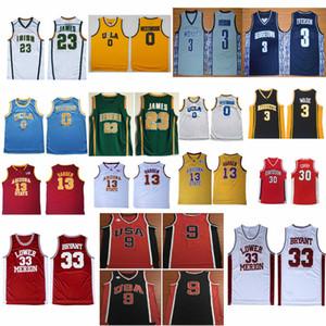 Schule Irish # 23 James Universität Georgetown Alle Iverson 3 Basketball NCAA UCLA Bruins Russell Westbrook Trikots