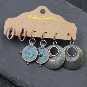 Women Personality Bohemian Vintage Sea Shell Earrings Dangle Pendant Earrings Fashion Creative Earrings Jewelry 3 Pairs Set