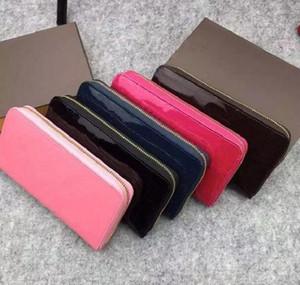2020 nueva cartera estándar de cuero clásico de Patentes bolsa de dinero monedero largo policromática bolsa de la cremallera multicolor bolsillo de la moneda del monedero del shinny de lujo