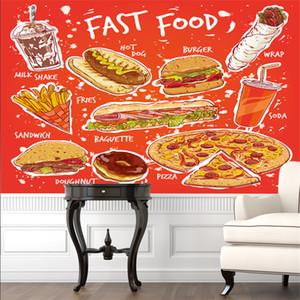 Mano personalizzati Drawn Top Ten Classico europeo e del veloce Prodotti di carta murale Wall Restaurant Snack Bar 3D Wallpaper