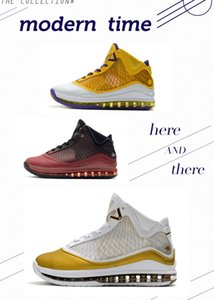 L7 크리스마스 중국 달 레이커스 남자 농구 신발 제임스 (7) 화이트 골드 퍼플 팀 레드 남성 디자이너 스포츠 트레이너 상자