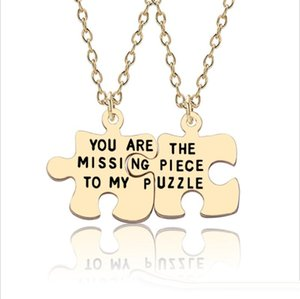 2pcs You Are The Missing Piece To My Puzzle Pendant Necklace Couple Lovers Jewelry Valentine's Day Gift For Boyfriend Girlfriend Wish Gift