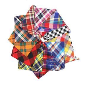Новые Pet Слюна полотенце треугольник полотенце Разнообразие хлопка собак Красный Черный Желтый Синий с Lattice Triangle шарф Другие принадлежности для собак LXL693-1