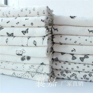 100% хлопок двухслойной марлевой печатной креповой ткани сгиба текстурной ткани 100x135см