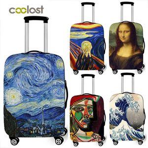 Sanat Yağlıboya Resim Yeni Polyester Kadınlar Erkekler Bagaj Koruyucu Çanta Karikatür Okulu Kapak Elastik Bavul Kapak Karşıtı -Toz Tekerlekli Çanta Kapak