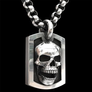 Personality Hip Hop Skull Necklace Pendant Motorcycle Party Steampunk Cool Silver Chain Biker Necklace Women Men Gothic Jewelry
