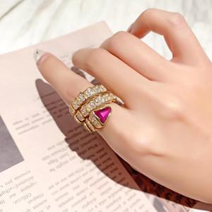 2020 Luxurious Qualität S925 silberne Schlange Ring mit Diamanten in 18 Roségold plattiert fuchsia Farbe Diamantfrauen Charme Schmuck Geschenk PS6450