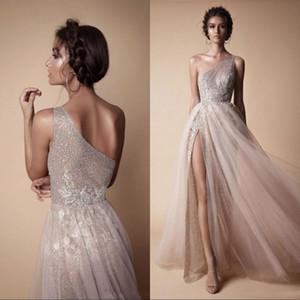 Berta New High Side Split Sequined Brautkleider Bohemian eine Schulter-Spitze Appliqued Brautkleider Brautkleid vestido de novia