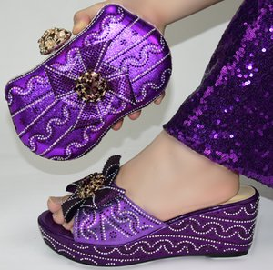 Fashion Rhinestone PURPLE Shoes And Bag Set Newest African Women low Heels Pumps Matching Purse For Wedding! GR1-2