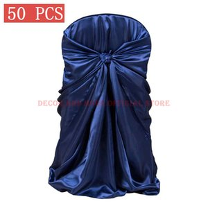 50PCS Decor Satin Chair Cover For Wedding Banquet Hotel Self-Tie White Black Red Silk Feeling Chair Covers Universal Wholesale